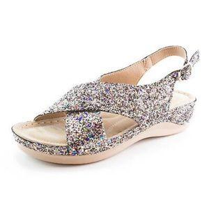 Mica | Mermaid Silver Multi Glitter Sandals